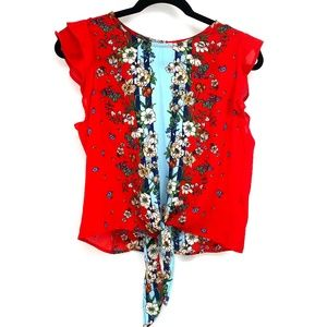 Twine & String red floral print tie front top M